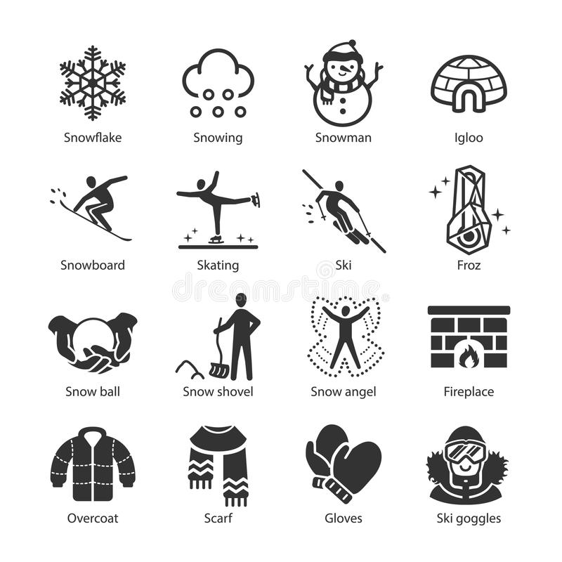 Icone di inverno impostate illustrazione di stock
