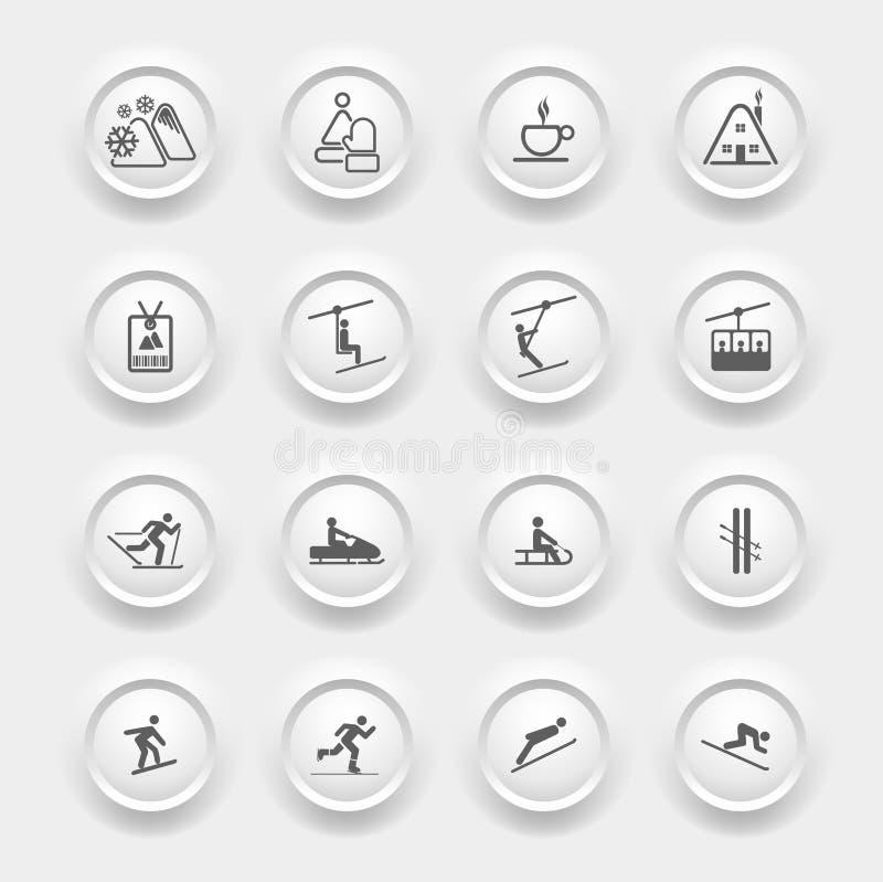 Icone di inverno messe - sport dello sci royalty illustrazione gratis