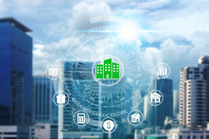 Icone di investimento della proprietà sopra la connessione di rete immagine stock