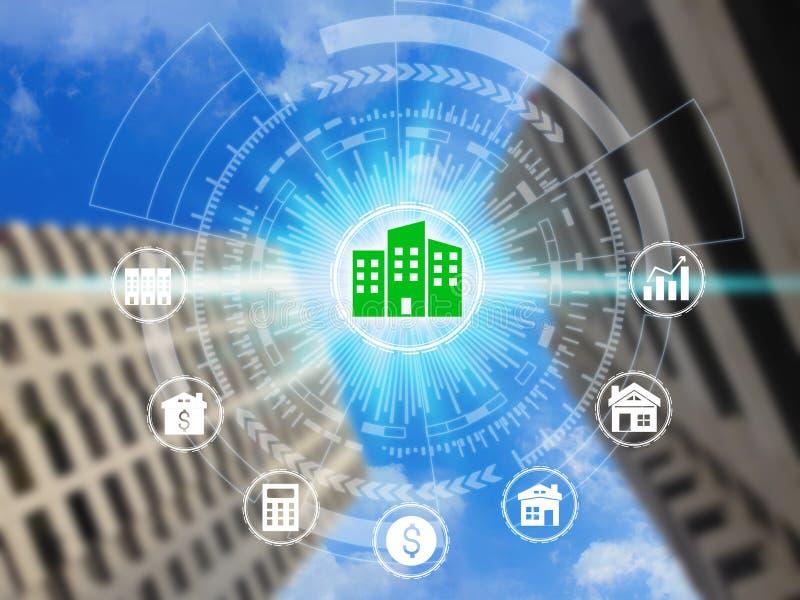 Icone di investimento della proprietà sulla rete immagine stock