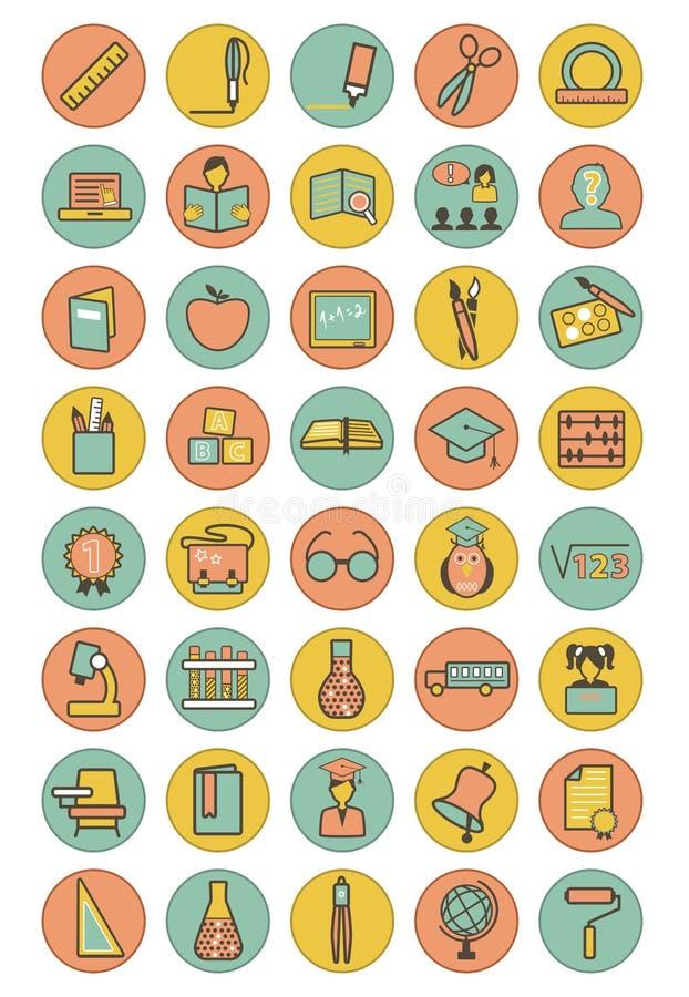 Icone di istruzione di colore messe illustrazione di stock