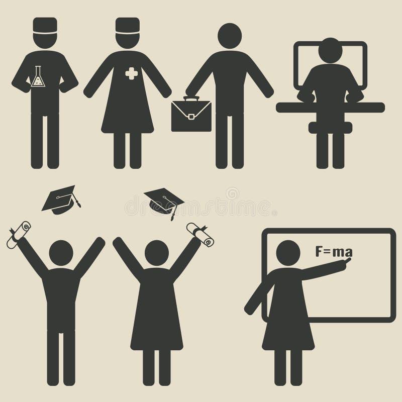 Icone di istruzione di scienza della gente illustrazione di stock