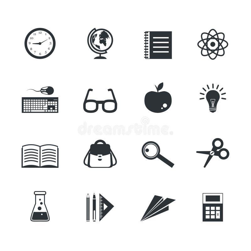 Icone di istruzione messe illustrazione vettoriale