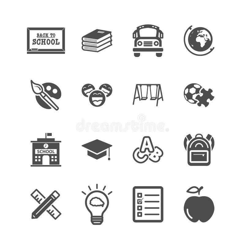 Icone di istruzione Di nuovo a scuola ed all'apprendimento del concetto dei bambini Tema delle icone del colpo dei profili e di g illustrazione vettoriale