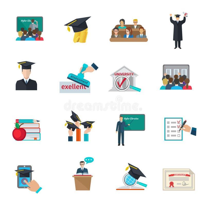 Icone di istruzione superiore impostate illustrazione vettoriale