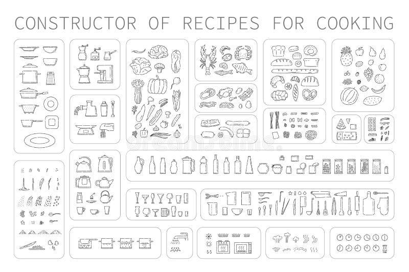 Icone di istruzioni di cottura degli utensili e degli apparecchi differenti dell'alimento per la cucina Linea arte dell'insieme d illustrazione di stock