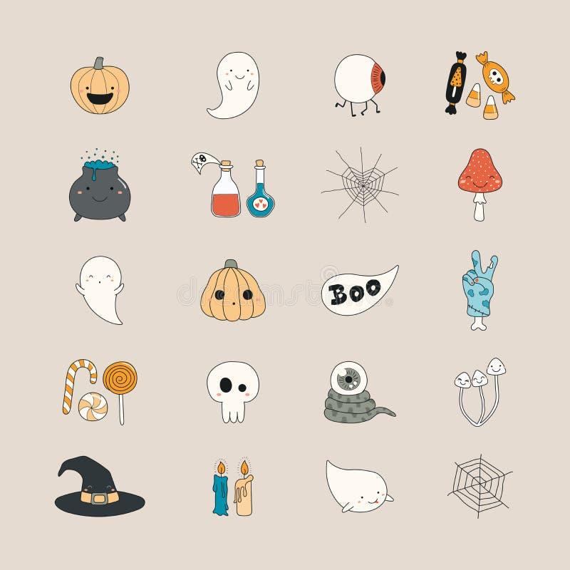 Icone di Kawaii Halloween illustrazione di stock