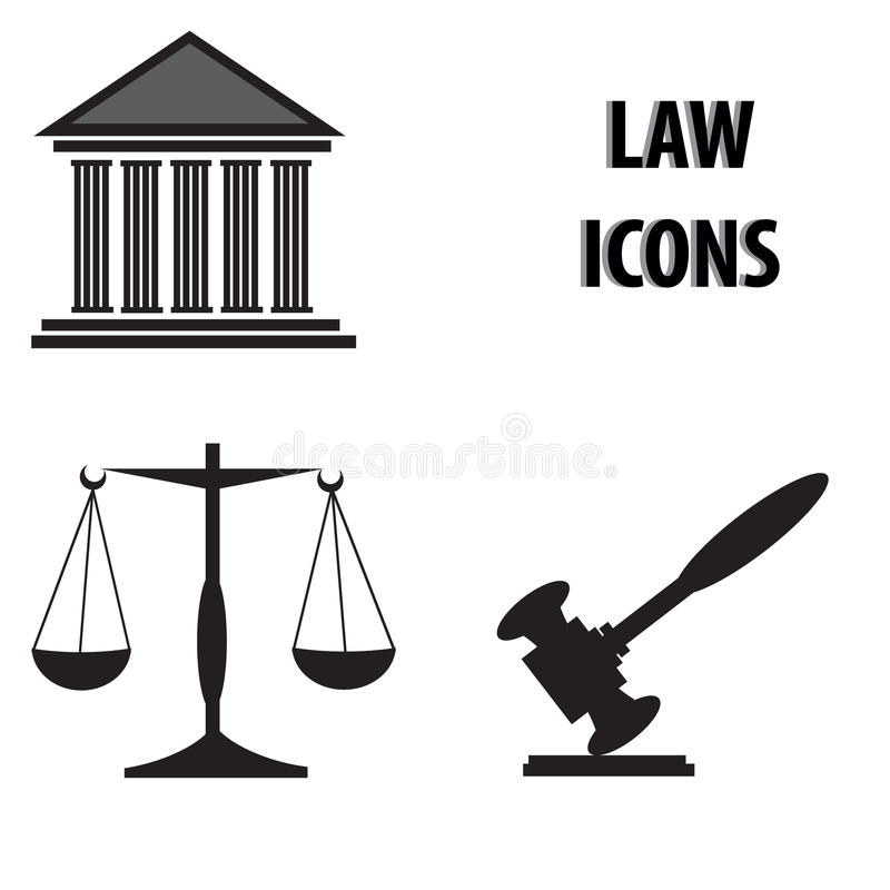 Icone di legge illustrazione vettoriale
