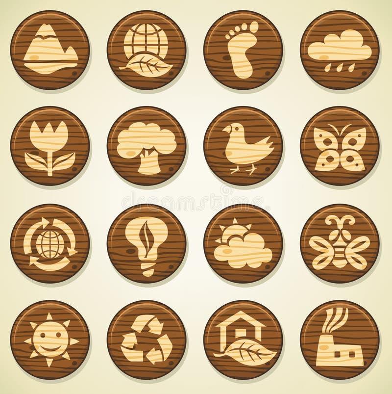 Icone di legno dell'ambiente impostate royalty illustrazione gratis