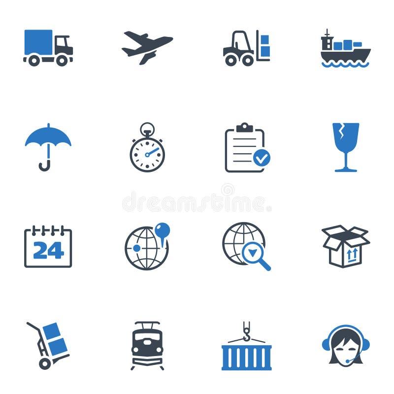 Icone di logistica - serie blu royalty illustrazione gratis