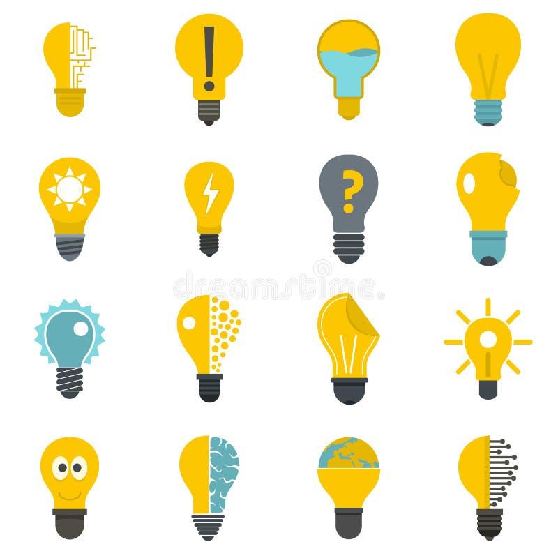 Icone di logo della lampada messe nello stile piano royalty illustrazione gratis