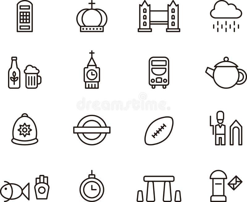 Icone di Londra e del Regno Unito illustrazione di stock