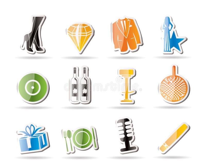 Icone di lusso semplici di ricezione e del partito illustrazione vettoriale