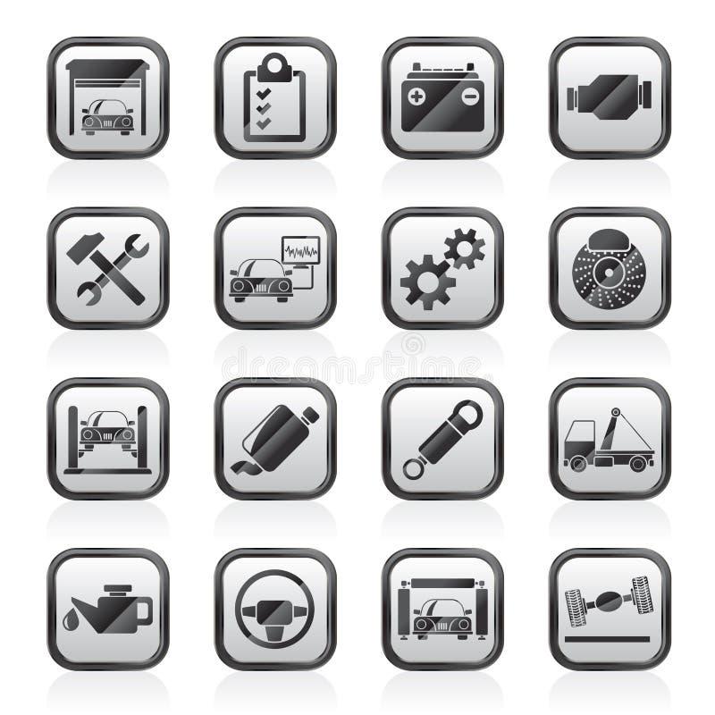 Icone di manutenzione di servizio dell'automobile illustrazione di stock