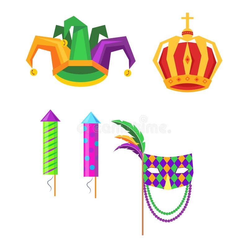 Icone di Mardi Gras Carnival Attributes Vector messe illustrazione vettoriale