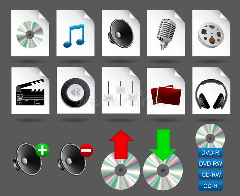 Icone di media illustrazione vettoriale