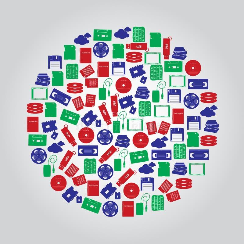 Icone di media di archiviazione di dati a colori il cerchio illustrazione di stock