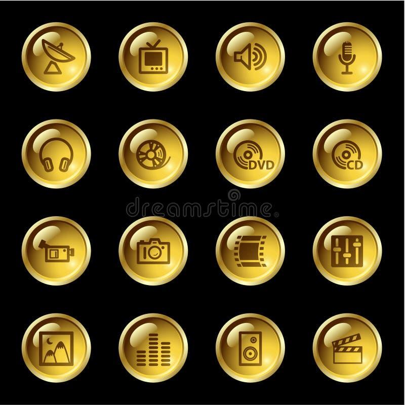 Icone di media di goccia dell'oro illustrazione di stock