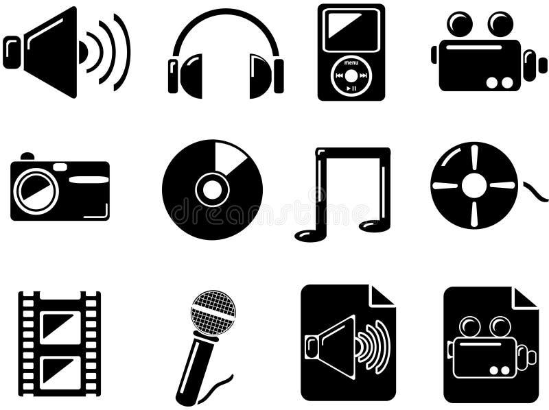 Icone di media. Il nero illustrazione di stock