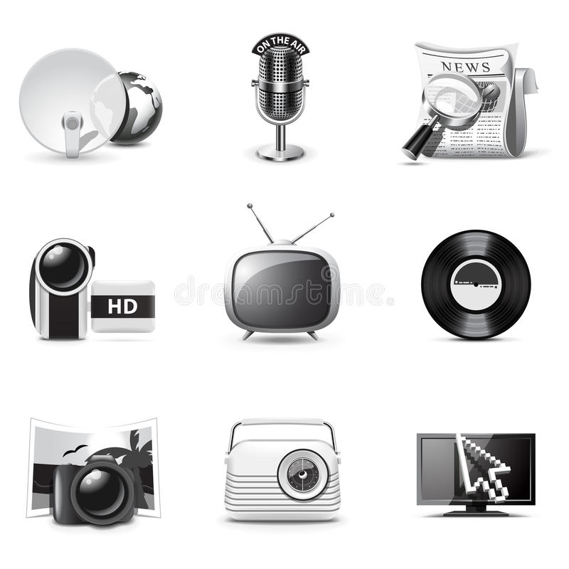 Icone Di Media | Serie Di B&W Immagine Stock Libera da Diritti