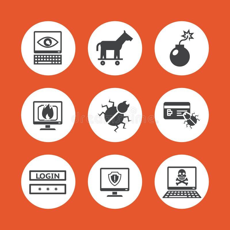 Icone di minacce del computer illustrazione vettoriale