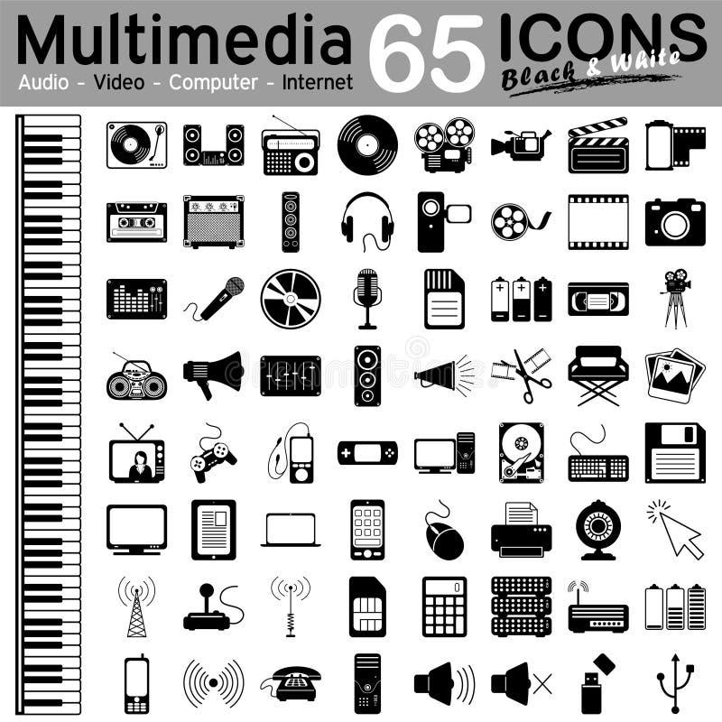65 icone di multimedia - audio, video, computer e Internet illustrazione vettoriale