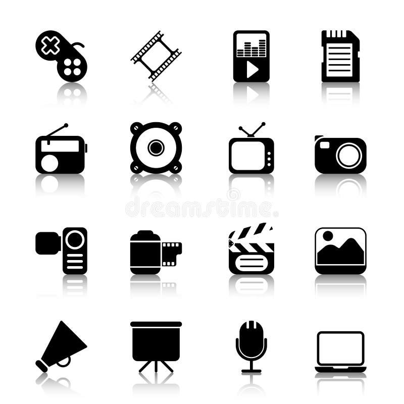 Icone di multimedia con la riflessione fotografia stock