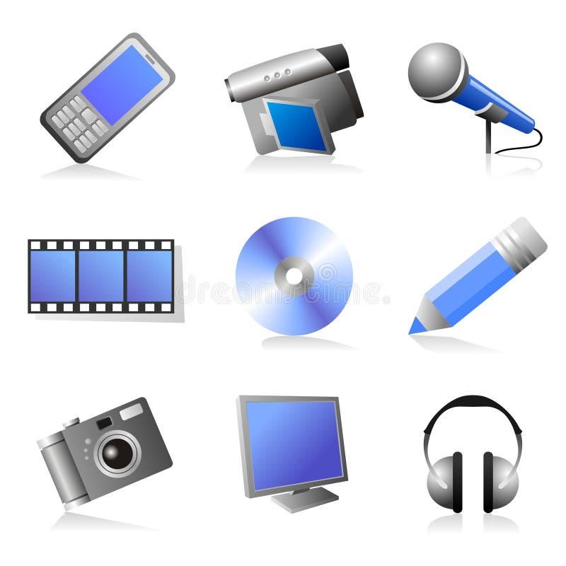 Icone di multimedia impostate fotografia stock libera da diritti