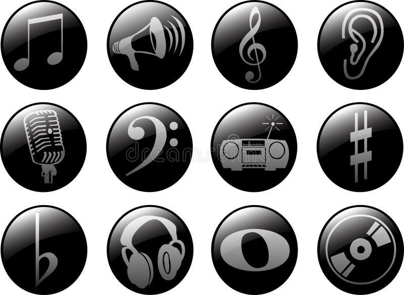 Icone di musica fotografie stock libere da diritti