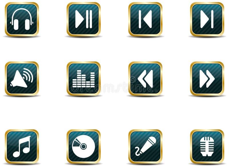 Icone di musica di stile di App illustrazione di stock