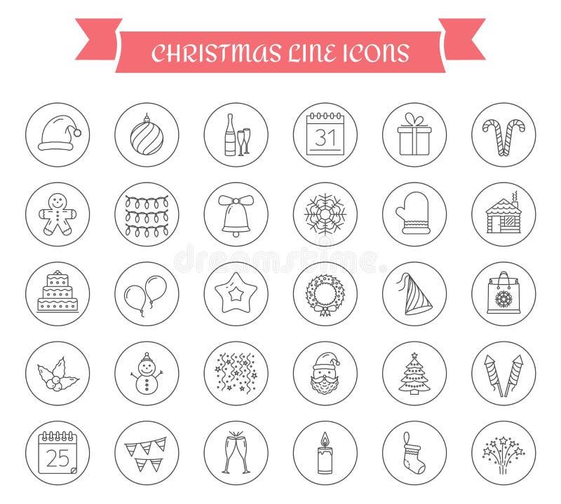 30 icone di Natale illustrazione vettoriale