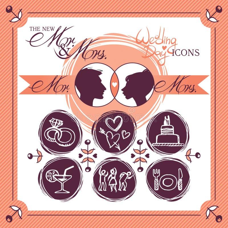 Icone di nozze royalty illustrazione gratis