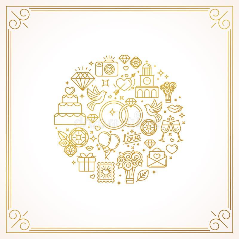 Icone di nozze illustrazione vettoriale