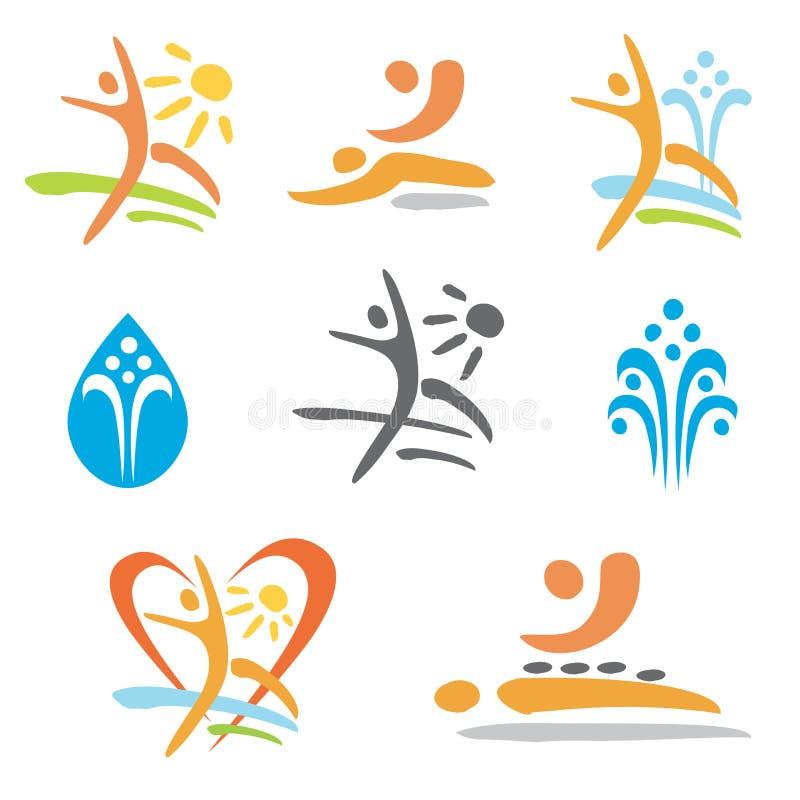 Icone di nudismo di massaggio della stazione termale royalty illustrazione gratis