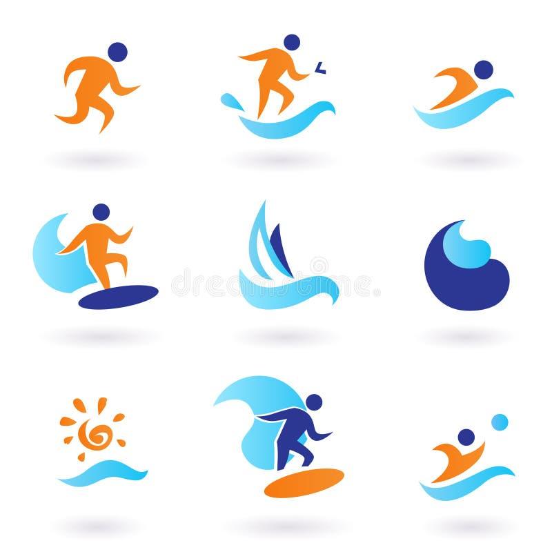 Icone di nuoto e praticare il surfing di estate - azzurro, arancione illustrazione di stock