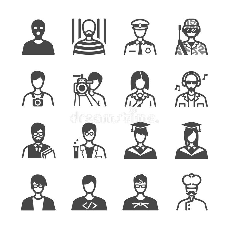 Icone di occupazione messe illustrazione vettoriale