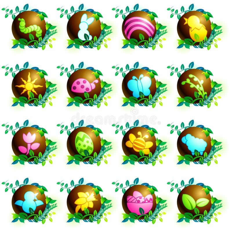 Icone di pasqua del cioccolato illustrazione di stock