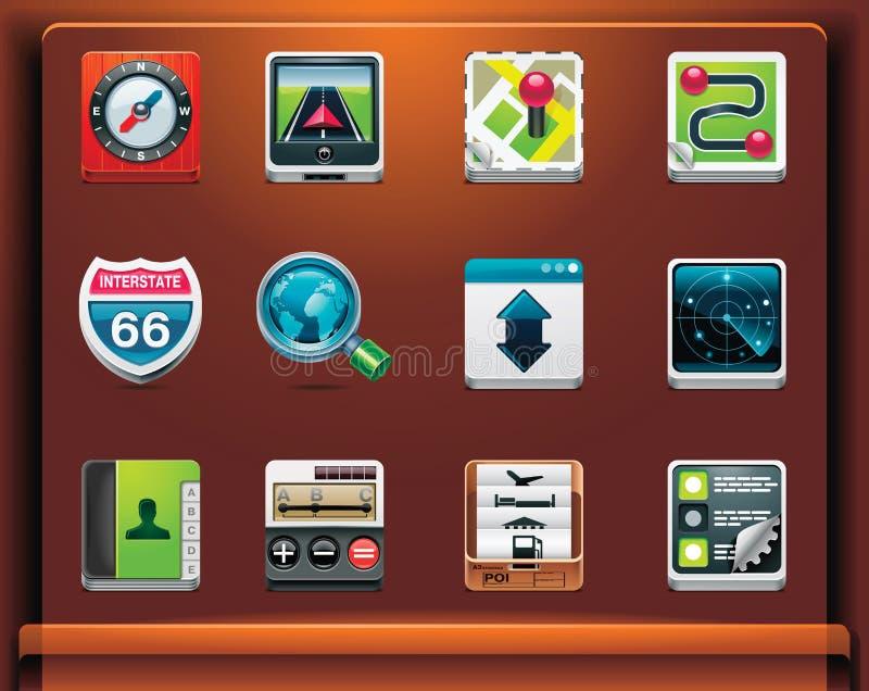 Icone di percorso di GPS illustrazione di stock