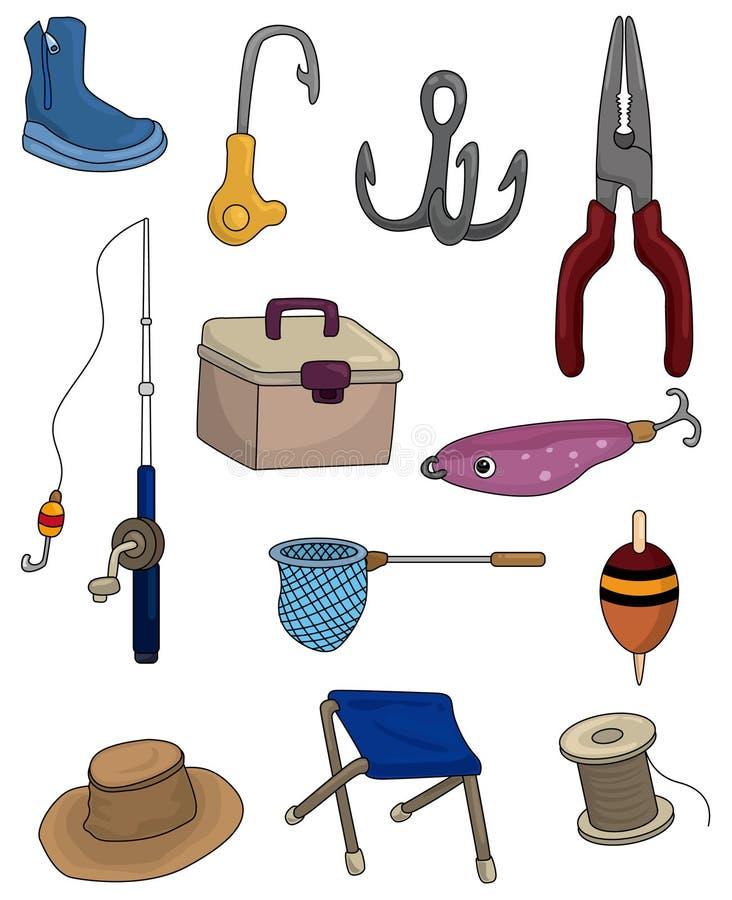 Icone di pesca del fumetto impostate royalty illustrazione gratis