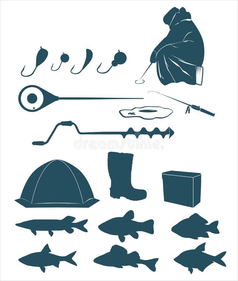 Icone di pesca di inverno illustrazione vettoriale
