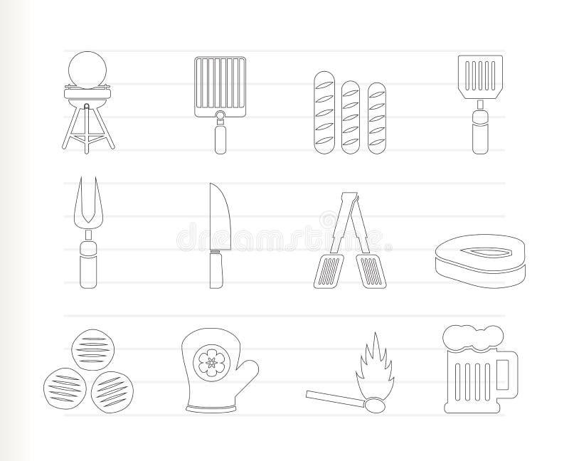 Icone di picnic, del barbecue e della griglia illustrazione di stock