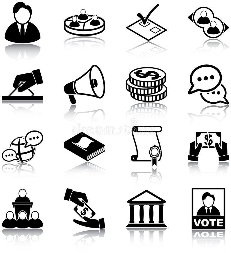 Icone di politica illustrazione vettoriale