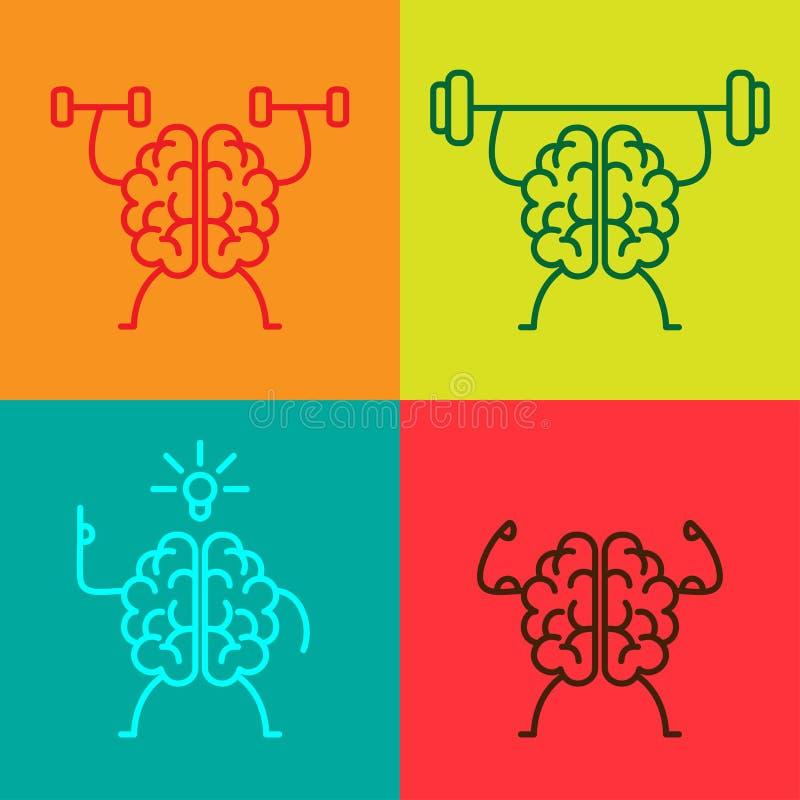 Icone di potenza della mente illustrazione di stock