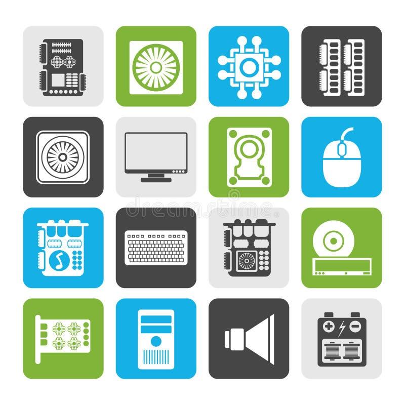 Icone di prestazioni del computer e dell'attrezzatura della siluetta illustrazione vettoriale