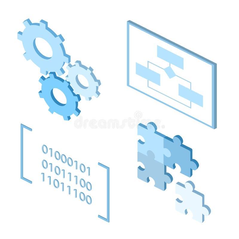 Icone di processo di ciclo di vita di sviluppo di software royalty illustrazione gratis