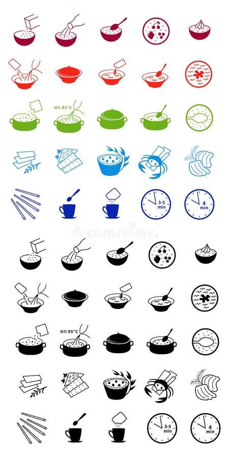 Icone di processo di cottura degli alimenti a rapida preparazione illustrazione di stock