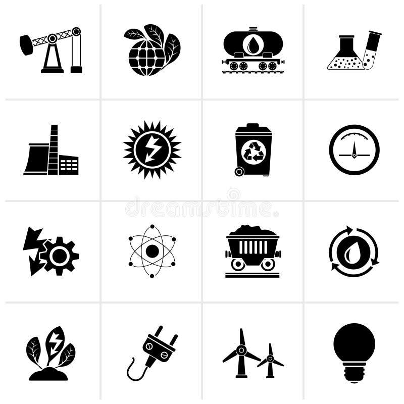 Icone di produzione di energia e di potere nero illustrazione vettoriale