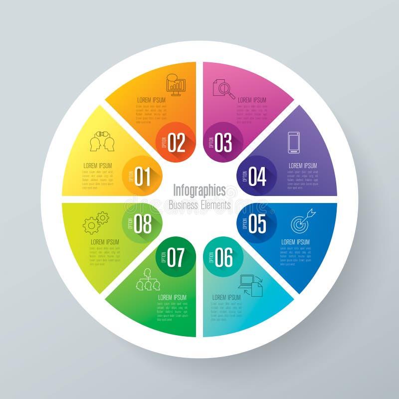Icone di progettazione e di affari di Infographic con 8 opzioni illustrazione vettoriale