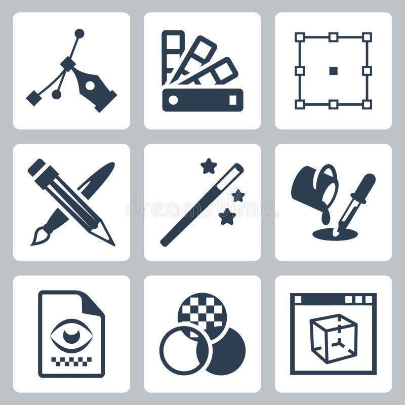 Icone di progettazione grafica di vettore messe illustrazione vettoriale