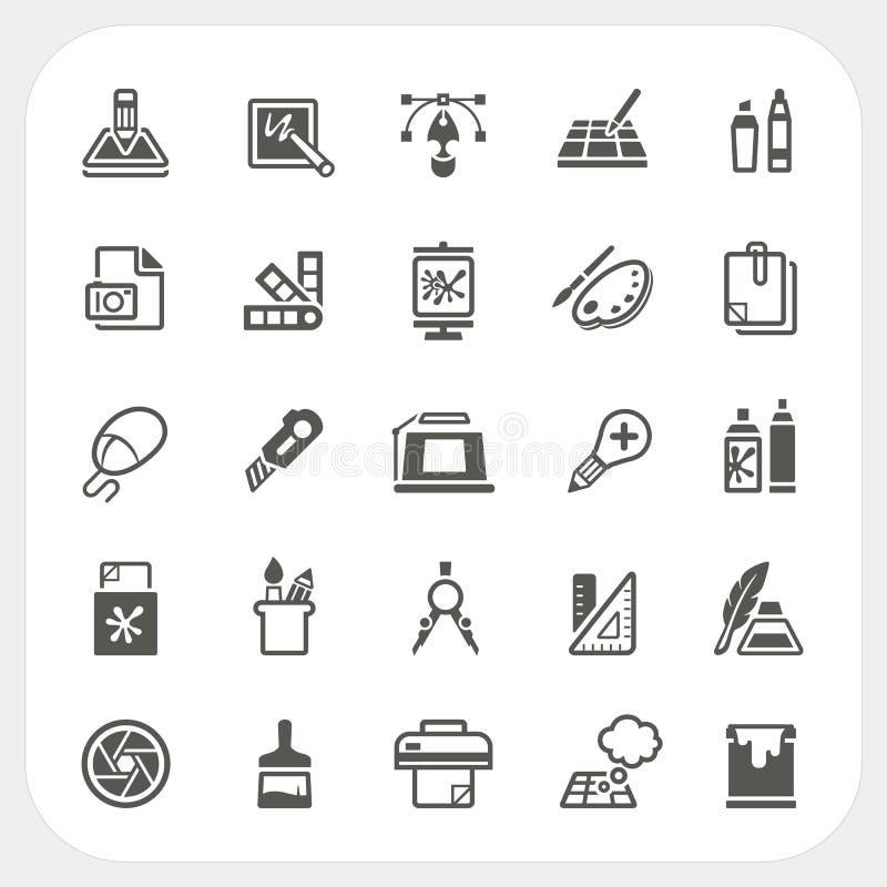 Icone di progettazione grafica messe illustrazione vettoriale